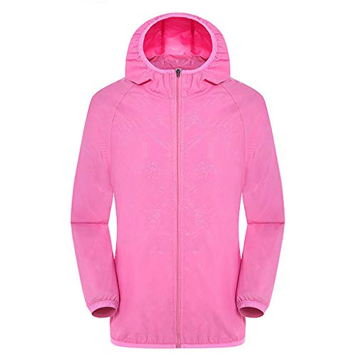 Tantisy ♣↭♣ Women Men's Waterproof Outdoor Active Hooded Rain Trench Jacket Sun Protection Clothing Overalls (No Pockets) Pink