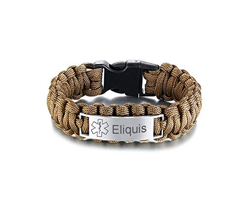 Sunling Durable Women Men's Customizable Medical Alert Paracord Bracelets Health Condition Awareness ID Bracelet Bangle for Emergency,9 Inches,Free Engraving,Brown