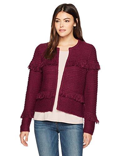 - kensie Women's Punk Yarn Fringe Sweater Cardigan, Cherry Wood XL