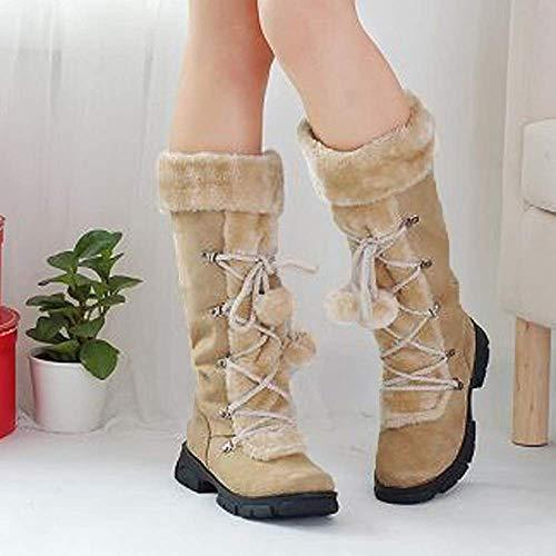 Cuadrado Para Slim Punta Corte Redonda Pelo Las De Mantener Zapatos Largas Botas Cremallera Mujer Fuxitoggo Bola Nieve Tacón Gamuza Cálidas UIOqOH