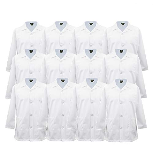 Natural Uniforms Childrens Lab Coat-Soft Touch-Multi Pack (12Pk White, 12/14)