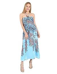 Village Venture- Vestido Casual Estampado Tono Azul 353