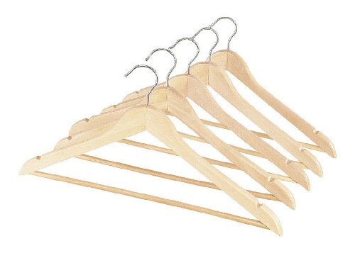 Whitmor GRADE A Natural Wood Suit Hangers (Set of 5)