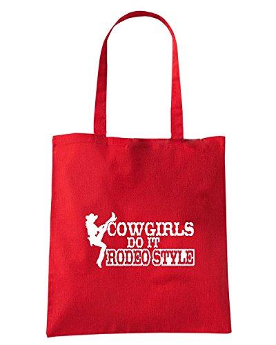 T-Shirtshock - Bolsa para la compra FUN1087 cowgirls do it rodeo style decal 73047 Rojo