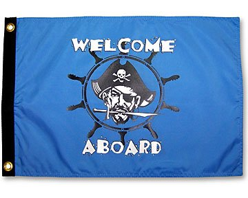 """Welcome Aboard Pirate 12"""" X 18"""" Flag"""