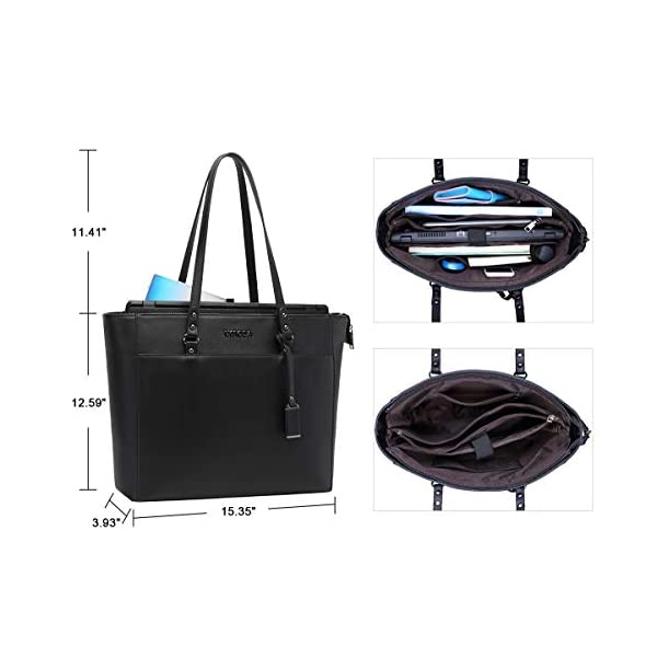156-Inch-Briefcase-for-Women-Laptop-Tote-Bag-Bottom-with-4-Metal-Feet-Multi-Function-Stylish-Work-Tote-Bags-for-Women-Black