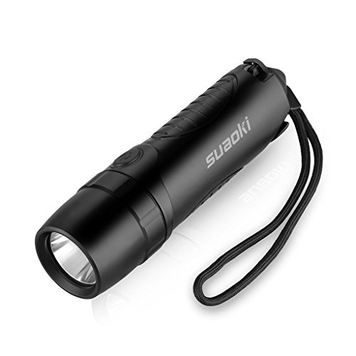Suaoki Waterproof 4-in-1 Cree Rechargeable LED Torch Flashlight Powered by 5,200 mAh External Battery Charger, Window Smasher and Belt Cutter