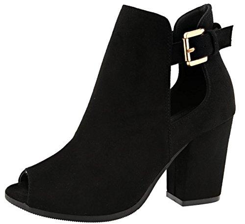 Top Moda Women's Buckle Open Side Peep Toe Block Heel Ankle Bootie Black