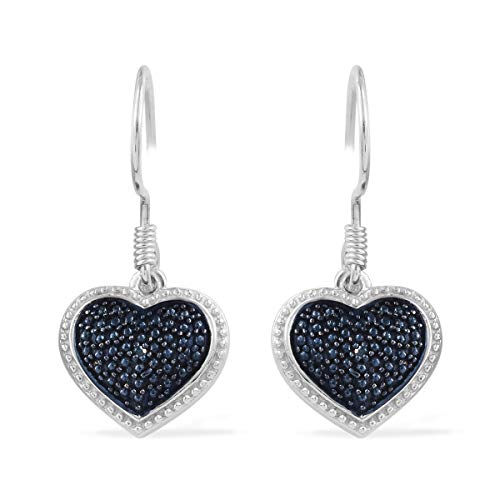 Round Blue Diamond Heart Dangle Drop Earrings 925 Sterling Silver Platinum Plated Gift Jewelry for Women