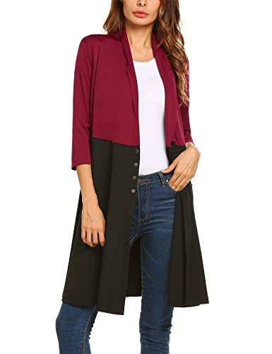 Hotouch Women's 3/4 Sleeve Slim Business Casual Long Top Dress Blazer Jackets Red XL by Hotouch