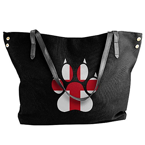 Shoulder Tote Messenger Large Handbag Flag Black England Dog Women's Bag Tote Hobo Paw Canvas tTRnBw