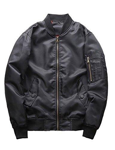 Yeokou Men's Classic Zipper Down Stand Collar Aviator F Pilot Bomber Jackets Black