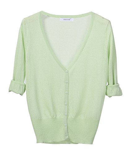 Summer Sexy Cardigan Sweater Knit V Neck in Multiple Colors Peagreen