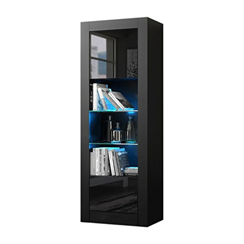 - Meble Furniture & Rugs Milano Bookcase Matte Body & High Gloss Fronts (Black)