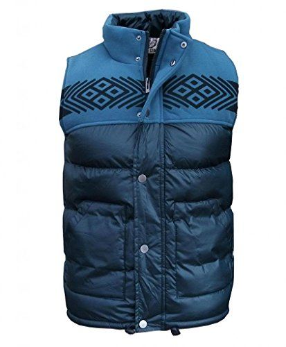 Soul Star Rest Men's Aztec Puffer Padded Bodywarmer Gilet Jacket Coat navy Large