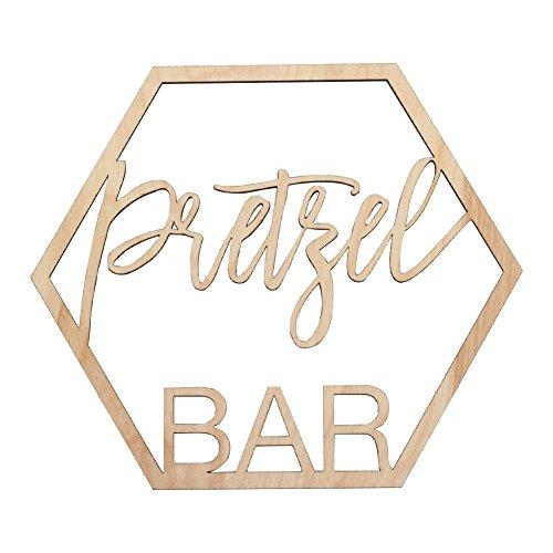 Koyal Wholesale Wood Pretzel Bar Sign, Wedding Display, Party Banner, Event Decorations for Wedding Engagement Bridal Shower Baby Shower Birthday Party (Pretzel Bar)