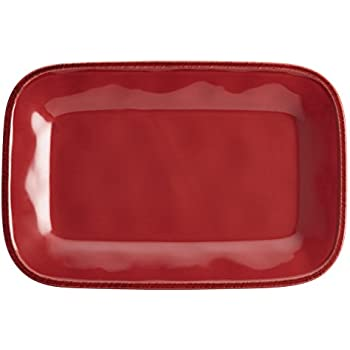 Rachael Ray Cucina Dinnerware 8-Inch x 12-Inch Stoneware Rectangular Platter, Cranberry Red - 57232