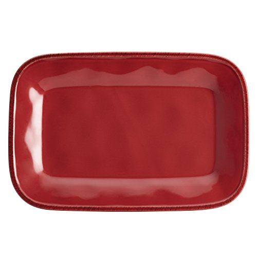Rachael Ray 57232 Cucina Serveware Platter 8-Inch by 12-Inch Cranberry Red