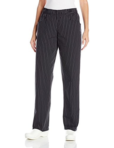 Pants Pin - Uncommon Threads Women's Fit Chef Pant, Black/White Pinstripe, Medium