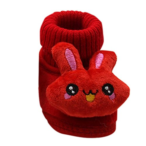 Tenworld Toddler Infant Baby Cartoon Rabbit Shoes Soft Sole Winter Booties (13, Red)