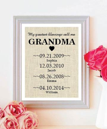 Perfect Gift for Personalized Gift for Grandmother - Rustic Gift Grandma Gift - Mothers Day Burlap - Natural Burlap Print Cute Grandchildren Birth Dates Wall Art # 005
