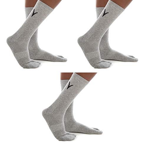 3 Pairs Combo - V-Toe Athletic Gray Crew Height Flip Flop Jika Tabi or Marugo Sports Or Casual Socks]()