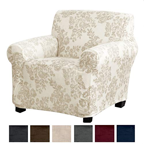 - Great Bay Home Modern Velvet Plush Strapless Slipcover. Form Fit Stretch, Stylish Furniture Cover/Protector. Gale Collection Brand. (Chair, Toile - Silver Cloud)