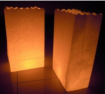 Fascola 20 x Pure White Luminaria Paper Lantern Candle Bag For Xmas BBQ Party -