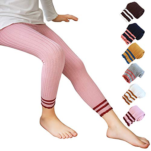 Techcity Little Girls Footless Tights Ankle Length Cotton Leggings Knitted Stockings Pantyhose for Girls (Pink, 1-3 Years)