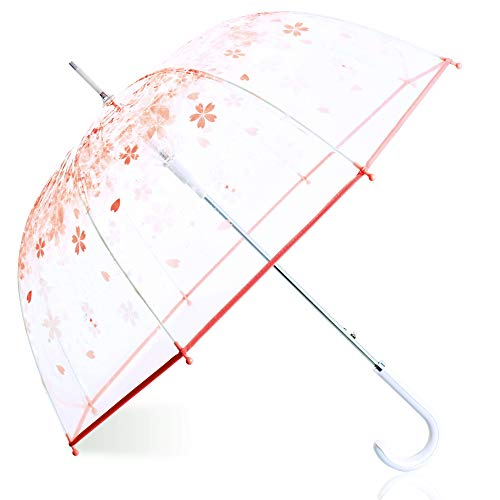 - Kung Fu Smith Women Half Automatic Clear Flower Bubble Dome Shape Wind Stick Rain Umbrella, Pink