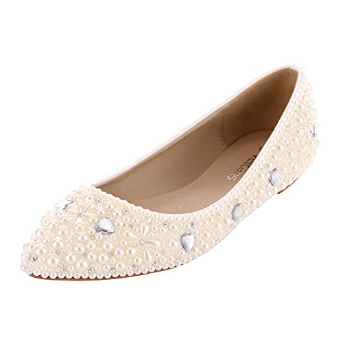 VELCANS Womens's Crystal Rhinestone and Pearl Flat Bridal...