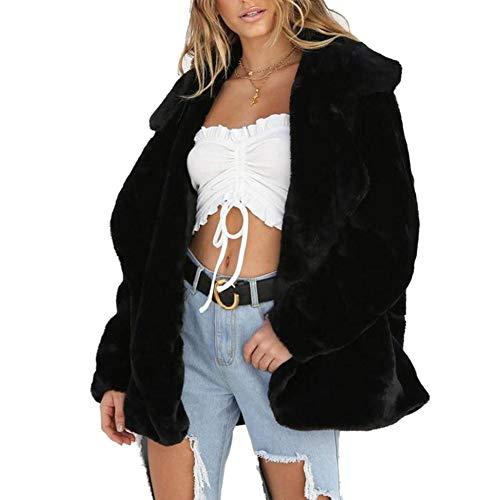 E Caldo Pelliccia Cappotto Morbido Nero Sintetica Voluminoso Peluche Invernale Donna Con In Per Cardigan TFJuc5K1l3