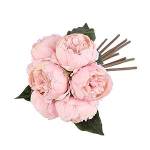 Louiesya Artificial Fake Flowers Peony Plants Silk Flower Arrangements Wedding Bouquets Decorations Plastic Floral Table Centerpieces Home Kitchen Garden Party Décor 46