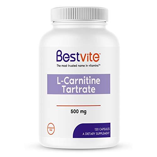 L-Carnitine Tartrate 500mg (120 Capsules) - No Stearates - Non GMO - Gluten Free