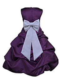 Wedding Pageant Purple Flower Girl Dress Baptism Toddler Occasions Tiebow 808t