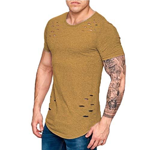 Birdfly Fashion Men's Summer Casual Broken Hole Short Sleeved T-Shirt Top Blouse Khaki