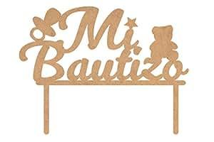 Topper para tarta de madera - Mi bautizo: Amazon.es: Hogar