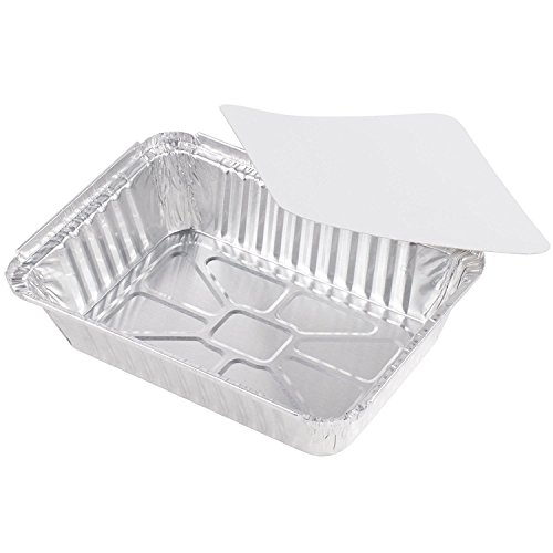 50-Pack Heavy Duty Disposable Aluminum Oblong Foil Pans with Lid Covers | 100% Recyclable Tin Food Storage Tray | Extra-Sturdy Containers for Cooking, Baking, Meal Prep, Takeout - 8.4