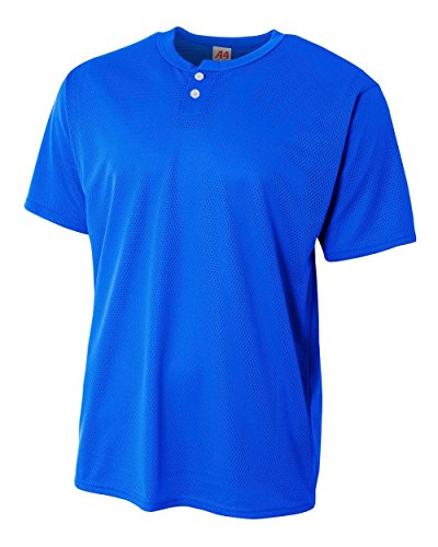 A4 Sportswear Adult Royal 3X 2-Button Mesh (Blank) Henley Uniform Jersey - Athletic Henley Button Two