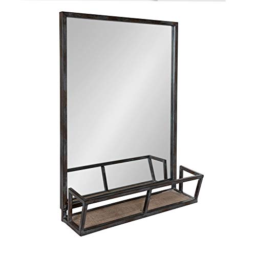 Kate and Laurel Jackson Distressed Metal Mirror with Wood Shelf, 22x29, -