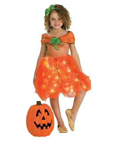 [Child's Twinkle Pumpkin Princess Costume, Medium] (Girls Light Up Witch Costume)