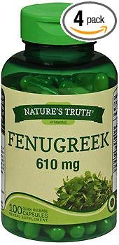 610 Mg Capsules - Nature's Truth Fenugreek 610 mg Herbal Supplement - 100 Capsules, Pack of 4