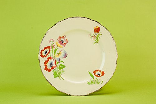 4 Elegant Vintage Pottery Tulips Alfred Meakin Fish PLATES Small Art Deco Cream Kitchen Cheese Serving English 1930s LS