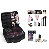 ETEREAUTY Travel Makeup Bag Portable Cosmetic Case Train Bag with 3 Individual Cases Bags Artist Storage Bag, Premium Makeup Organizer Bag for Makeup Brushes Toiletry Jewelry Digital Accessories Black
