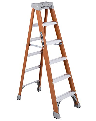 Louisville Ladder 6-Foot Fiberglass Ladder, 300-Pound Capacity, Type 1A, - Boxes Rail Single Utility