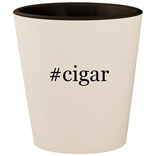 #cigar - Hashtag White Outer & Black Inner Ceramic 1.5oz Shot Glass