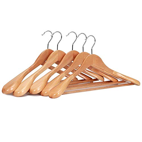 JS HANGER Gugertree Wooden Extra-Wide Shoulder Suit Hangers, Wood Coat Hangers Pant Hangers, Natural Finish, 5-Pack