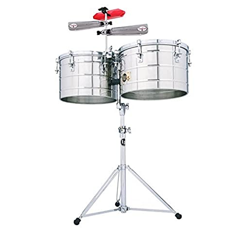 Latin Percussion LP258-S-KIT-2 Tito Puente Thunder Timbs Set - 15-Inch and 16-Inch Stainless Steel Shells with Heavy-Duty Stand, Cowbell Bracket, Timbales Stick, Tuning Wrench, LP201BK-P LP Rumba Shaker, LPES6 and LPES7 Salsa Cowbells and LP1207 (Lp Matador Stand)