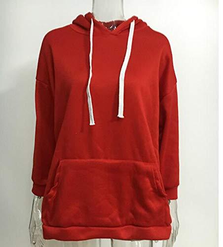 Inverno A Manica Felpe Cappuccio Media Rosso Autunno Con Moda Donna Lunga Felpa Cappotto Da Stile qEPPt