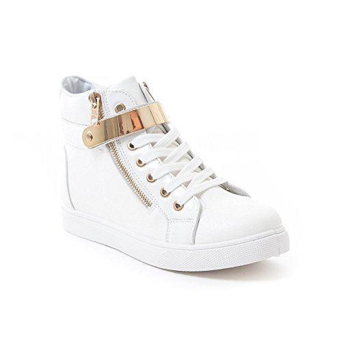 Soho Shoes Womens Leatherette Metallic Lace Up High Top Sneakers White LsguOaa